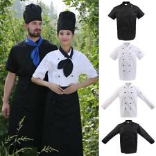 Unisex Chef Apparel Short Long Sleeve Chef Jacket Coat Cook Work Uniforms M-3XL