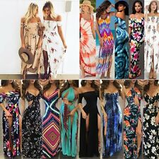 HOT Women Maxi Summer BOHO Floral Beach Long Dress Ladies Evening Party Sundress