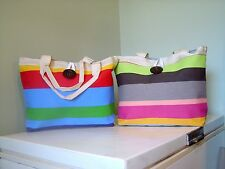 Colorful Striped Canvas Tote Handbag - - - -b/g