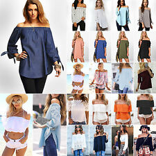 Sexy Women Off Shoulder Long Sleeve T Shirt Casual Loose Blouse Jumper Tops Tee