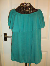 Brand New South Size 18 Gypsy Bardot Top Short Sleeve Teal