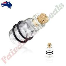 Clear Cork Bottle with 2-Black O-Rings Glass Plugs