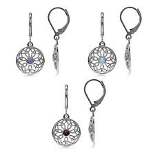 Gemstone 925 Sterling Silver Triquetra Celtic Knot Circle Leverback Earrings