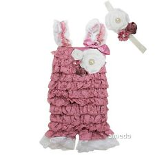 Baby Dusty Pink White Rosettes Lace Petti Rompers & Flower Headband