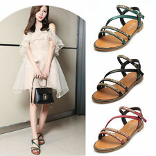 Summer Women Gladiator Rome Sandals Shoes Thong Flip Flops Flat T Strap Strappy