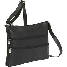 Le Donne Leather Two Zip Crossbody 4 Colors Cross-Body Bag NEW