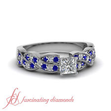 Blue Sapphire Intertwined Engagement Ring With Center Princess Diamond 1.15 Ct