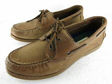 H H Brown Nubuck Leather Casual Comfort Boat Deck Shoes Footwear 12 D