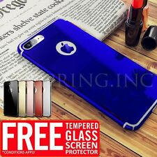 Hard Mirror Ultra thin light Back Case + Tempered Glass Cover For iPhone 6 6s 7