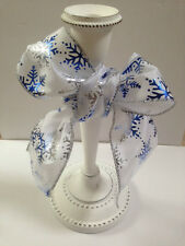 SNOWFLAKES Icy Cool Blue & Silver Christmas FROZEN - Luxury Wire Edged Ribbon