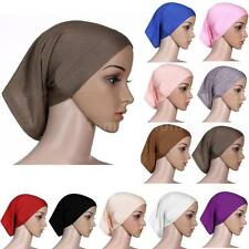 Muslim Womens Bonnet Head Cover Cotton Under Scarf Hijab Tube Cap hats N3I3