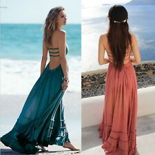 Sexy Fashion Women Casual Halter Sleeveless Solid Ruffle Hem Backless  Dress