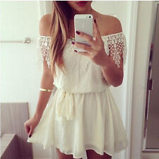 Women Sexy Lace Mini Short Dress White Evening Cocktail Party Prom Beach Dresses