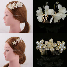 Wedding Bridal Hair Comb Clip Crystal Flower Faux Pearls Hairpin Hair Jewelry