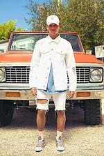 Boohoo Mens Heavily Distressed White Denim Jacket
