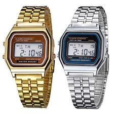 Retro Women Men Stainless Steel LED Digital Alarm Sport Stopwatch Wrist Watch UK