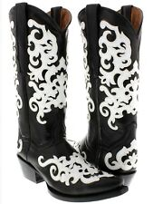 Women's Black White Marsella Western Leather Cowboy Cowgirl Rodeo Boots Riding