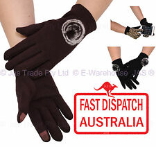 Ladies Women Stretch Thermal Driving smart Phone Touch Screen Texting Gloves
