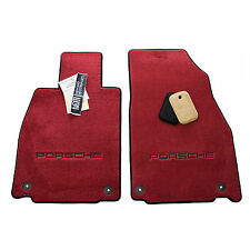 PORSCHE 718 Cayman Floor Mats - Bordeaux Red - Porsche Embroidery - USA Made