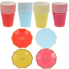 8pcs Happy Birthday Disposable Dishes Paper Plates Cups Birthday Party Tableware