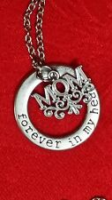 ANTIQUE SILVER MOM NECKLACE - FOREVER IN MY HEART - HEART OF OUR FAMILY - HERO