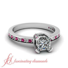 1 Ct Princess Cut Diamond Engagement Ring With Round Cut Pink Sapphire Pave Set