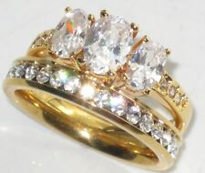 WOMENS OVAL THREE STONE GOLD  SIMULATED DIAMOND RING WEDDING BAND SET r330