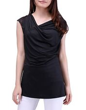 Womens Plus Size Cowl Neck Top Short Sleeve Soft Stretch Tank Top Blouse