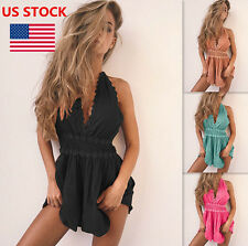 Sexy Women Backless Jumpsuit Lace Deep V Neck Lace Halter Mini Rompers Jumpsuit