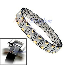 ACCENTS KINGDOM MENS 2 TONE MAGNETIC THERAPY TITANIUM GOLF BRACELET T16