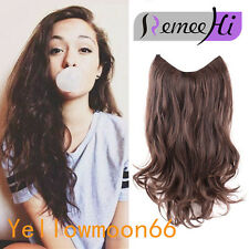 Wavy Curly Dark Brown Hair Extension Secret Miracle Hair Wire Hairpieces No Clip
