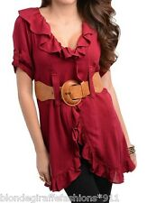 Raspberry Short Sleeve Ruffled Belted Tunic Cover-Up Blouse Top S M L