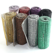 "1 Yard 4.6"" Wedding Diamond Mesh Wrap Roll Sparkle Rhinestone Crystal Ribbon"