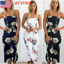 Women Floral Chiffon Sleeveless Jumpsuit Flower Loose Romper Halter Off Shoulder