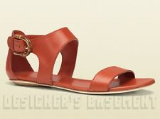 GUCCI orange Leather NADEGE bold BAMBOO buckle flat sandals NIB Authentic $650!
