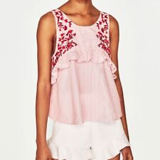 New Womens Ladies Floral Embroidered Ruffled Detail Sleeveless Blouse Tops Shirt