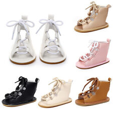 Toddler Girls Kids Strappy Gladiator Sandals Lace Up Roman Hollow Out Boot Shoes