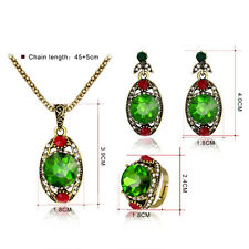 Women Retro Green Rhinestone Pendant Necklace Earrings Ring Jewelry Set Little