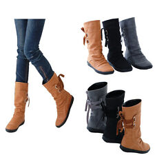 Women Mid-Calf Boots Laces Low Heel Buckle Shoes Winter Warm Casual Boots Cowboy