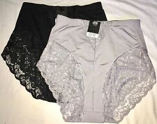 2 Seamless Lace High Waist Briefs Black Silver Control Girdle Shaper Panties