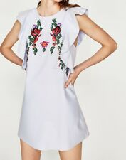 New Womens Ruffled Detail Floral Embroidered Sleeveless Blue Mini Dress