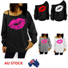 Women Lip Print Long Sleeve Casual Loose Blouse Tee Pullover Casual Tops T-Shirt