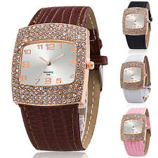 Women's Luxury Rhinestones Faux Leather Band Square Analog Wrist Watch Fashion