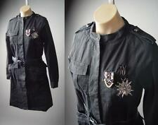 Black Steampunk Military Goth Punk Women Belted Jacket Trench 01 zz Coat S M L