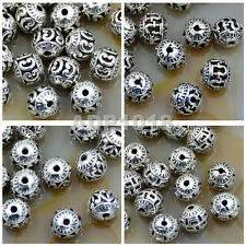 Tibetan Silver Carved Hollow Round Metal Connector Round Charm Beads Findings