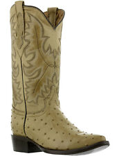 mens sand beige ostrich exotic crocodile western leather cowboy boots new