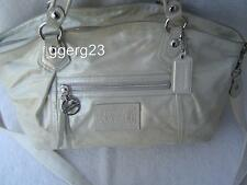 AUTHENTIC COACH POPPY SILVER SHIMMER LEATHER ROCKER BAG #16308  VGC