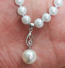 """Long 16""""-24"""" 8mm White Akoya Shell Pearl Round Beads Pendant (12mm) Necklace AAA"""