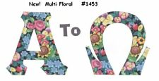 Aqua Peach Floral Greek Sorority NoSew IronOn Letters Alpha Omega A-Z