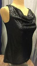 TALBOTS BLACK SEQUIN TANK TOP SHIRT Knit Sleeveless Draped Neckline Sequined NWT